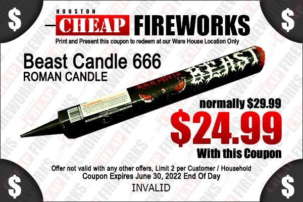 Houston fireworks Coupon Exploding 5 Ball Roman Candle 4pk 99 cents each
