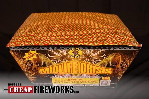 Midlife Crisis 49 Shot Multi Shot Cakes 500 Gram Houston Cheap Fireworks